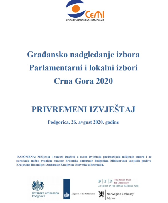 Privremeni izvještaj - Građansko nadgledanje Parlamentanih i lokalnih izbora u Crnoj Gori 2020