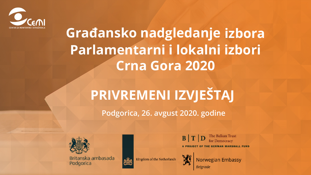 Privremeni izvještaj – Građansko nadgledanje izbora Parlamentarni i lokalni izbori Crna Gora 2020