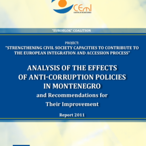 Analysis of the Effects of Anti-Corruption Policies in Montenegro and Recommendations for their Improvement