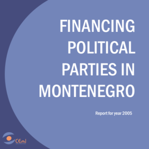 "FINANCING OF POLITICAL PARTIES IN MONTENEGRO - REPORT 2005 YEAR   Authors: Zlatko Vujovic, Danijela Boskovic and Branko Boskovic  Center for monitoring, for a number of years, with support from the Foundation Open Society Institute - Representative Office of Montenegro, implements the project ""Monitoring of financing political parties"". The goal of the publication is to present the perspective of financing of political parties in Montenegro. It consists of seven parts.   In the first part it presents introductory remarks and conceptual-theoretical framework of research related to the CEMI's current and future project activities being undertaken in order to reduce the level of corruption in the funding of political parties.   The second part is consisted of an analysis of the legal framework related to the financing of political parties, while the third part refers to the regular financing of political parties, public and private funding resources, control and record of the financial operations of political parties and sanctions applied to political parties for violating rules concerning their funding.   The fourth part of the publication provides an overview of CEMI's results of monitoring the election campaign.   The fifth part refers to the review of legislation governing the funding of political parties in Montenegro, while the sixth part, the Annex, presents statistical overview of campaign of financing political parties that have participated in local elections in Montenegro in 2005-06., and regular review of funding of political parties in Montenegro.   Profile of the organization is presented in the last, seventh part of this publication."