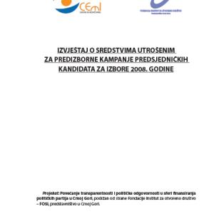Izvjestaj o sredstvima 2008