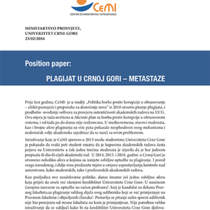 Plagijat u Crnoj Gori - Metastaze