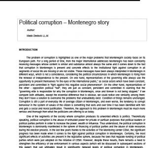 Political corruption Montenegro story