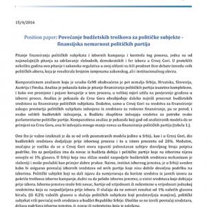 Povecanje budzetskih troskova za politicke subjekte