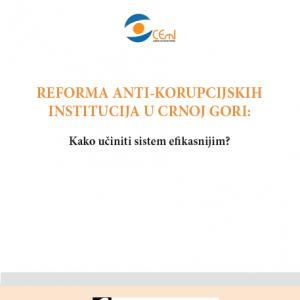 Studija Reforma anti-korupcijskih institucija u Crnoj Gori