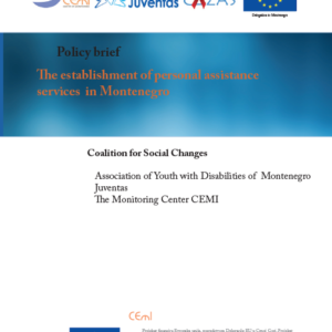 The establishment of personal assistance services in Montenegro