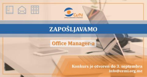 Konkurs za poziciju Office Manager-a