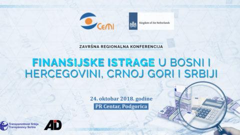 Srijeda, 24. oktobar – Završna regionalna konferencija Finansijske istrage u Bosni i Hercegovini, Crnoj Gori i Srbiji