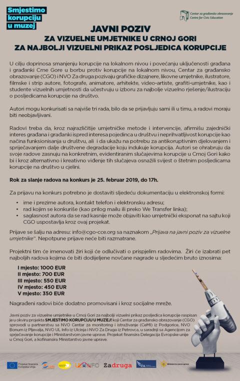 Javni poziv za vizuelne umjetnike u Crnoj Gori za najbolji vizuelni prikaz posljedica korupcije