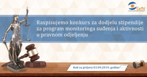 Konkurs za dodjelu stipendije za program monitoringa suđenja i aktivnosti u pravnom odjeljenju