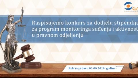 (Montenegrin) Konkurs za dodjelu stipendije za program monitoringa suđenja i aktivnosti u pravnom odjeljenju