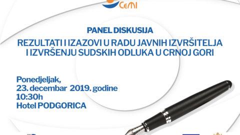 Panel diskusija – ponedjeljak, 23. decembar 2019. godine