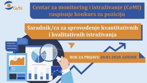 Konkurs –Saradnik/ca za sprovođenje kvantitativnih i kvalitativnih istraživanja
