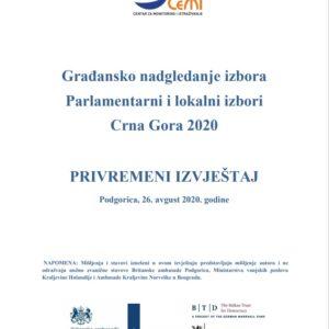 Privremeni izvjestaj 2020 Parlamentarni izbori CeMI