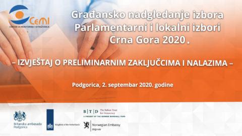 """Izvještaj o preliminarnim zaključcima i nalazima – """"Građansko nadgledanje izbora Parlamentarni i lokalni izbori Crna Gora 2020"""""""